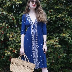 Blue Boho Embroidered Spring Dress, Size Small